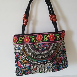 Embroidered cotton handbag mexican design NWOT